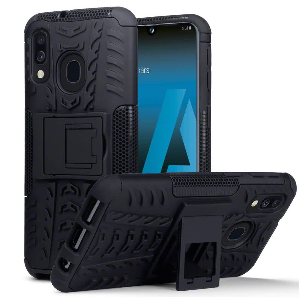 Samsung Galaxy A40 Skal Däckmönster Stativfunktion Svart